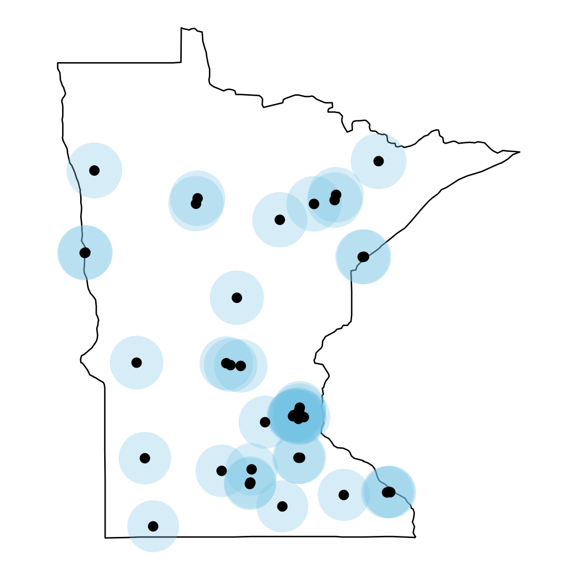 Locations of the 44 Minnesota colleges and universities c.2018.
